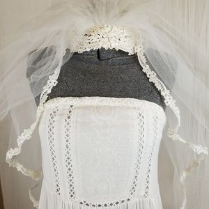 Accessories - Vintage Bridal Veil with Pearl Accents